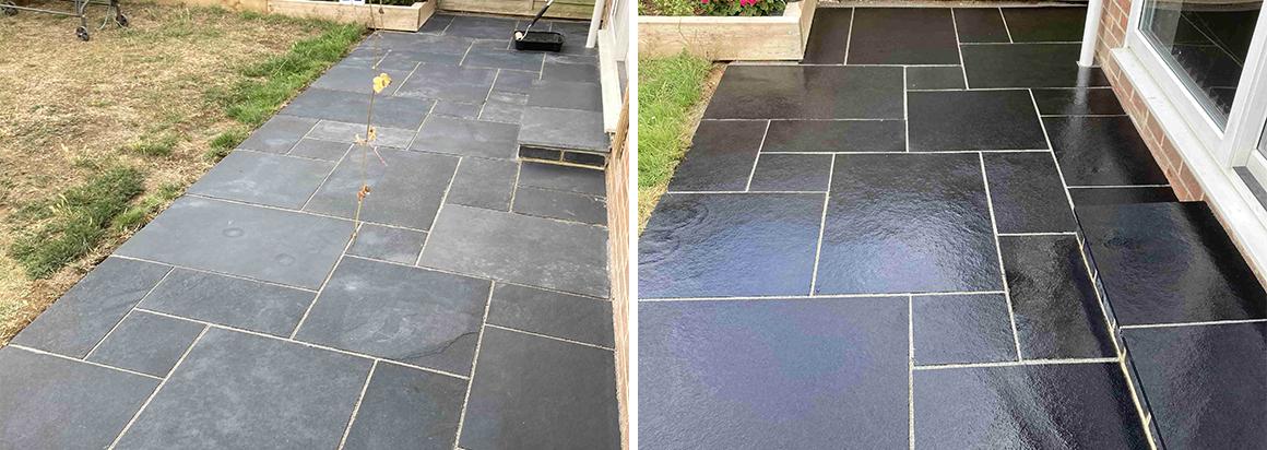 Black Limestone Patio Renovated in Ashford