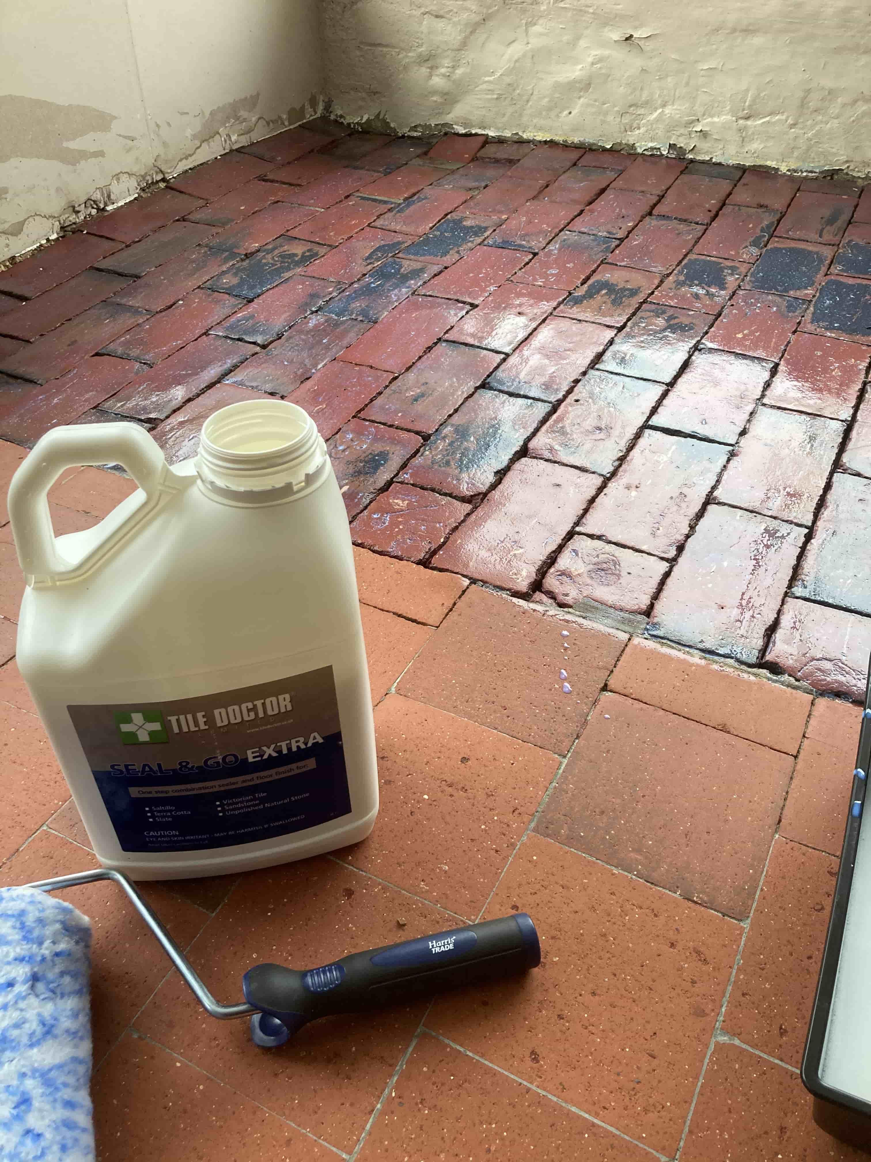 Brick Quarry Floor During Sealing Royal Tunbridge Wells