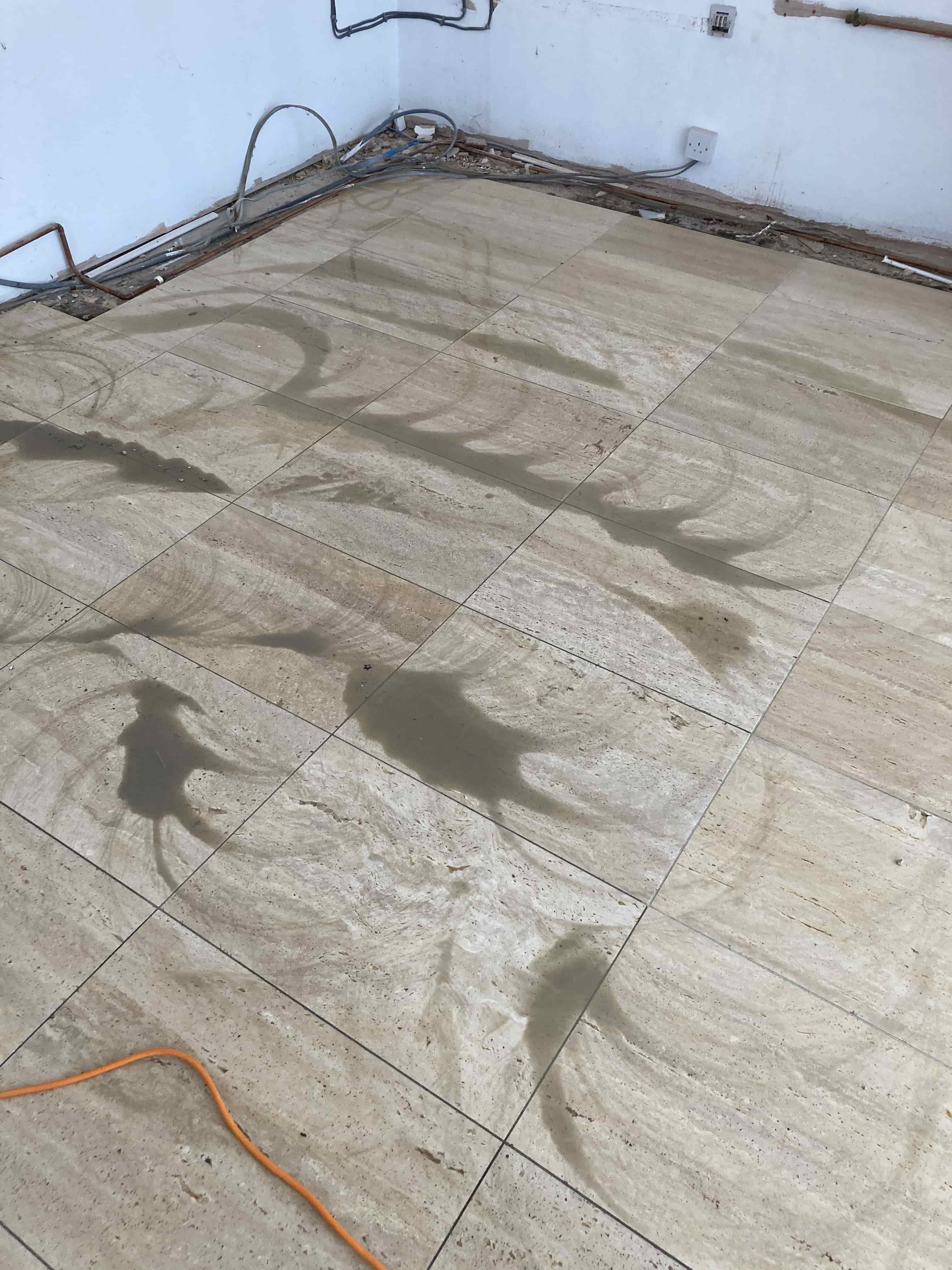 Limestone Floor During Cleaning Tenterden