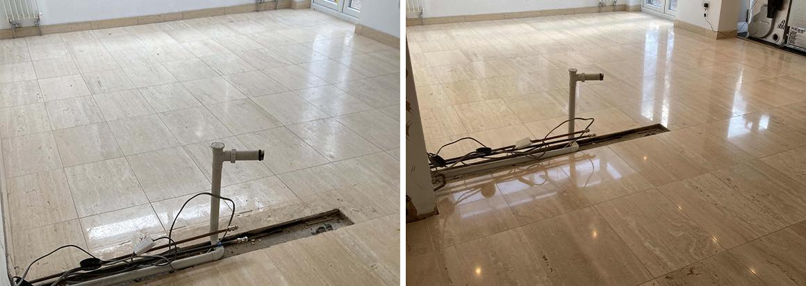 Limestone Floor Polished before Kitchen Installation in Tenterden