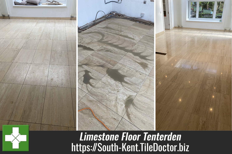 Limestone Floor Refurbished in Tenterden Ready for Kitchen Installation