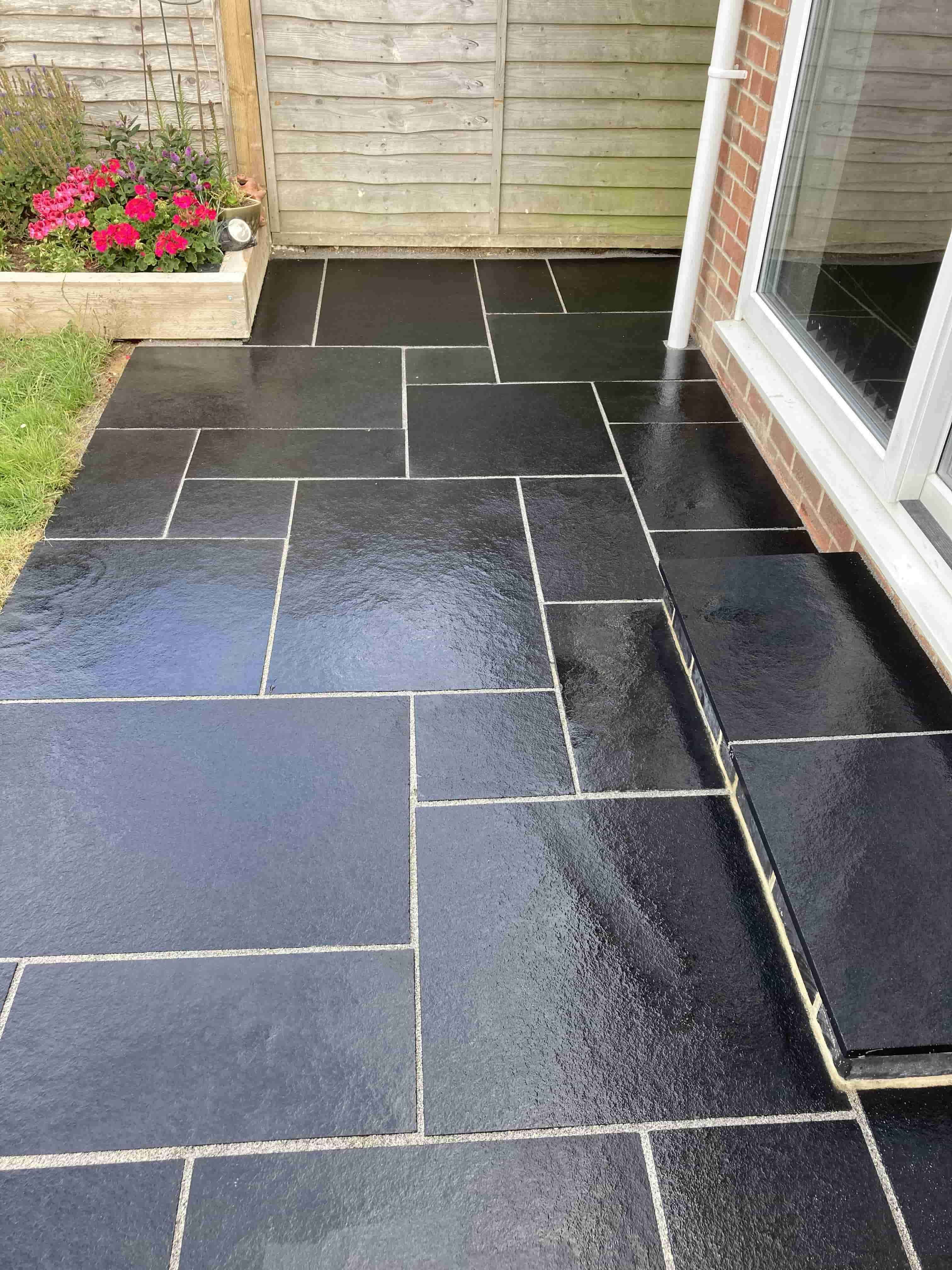 Black Limestone Patio After Cleaning Ashford