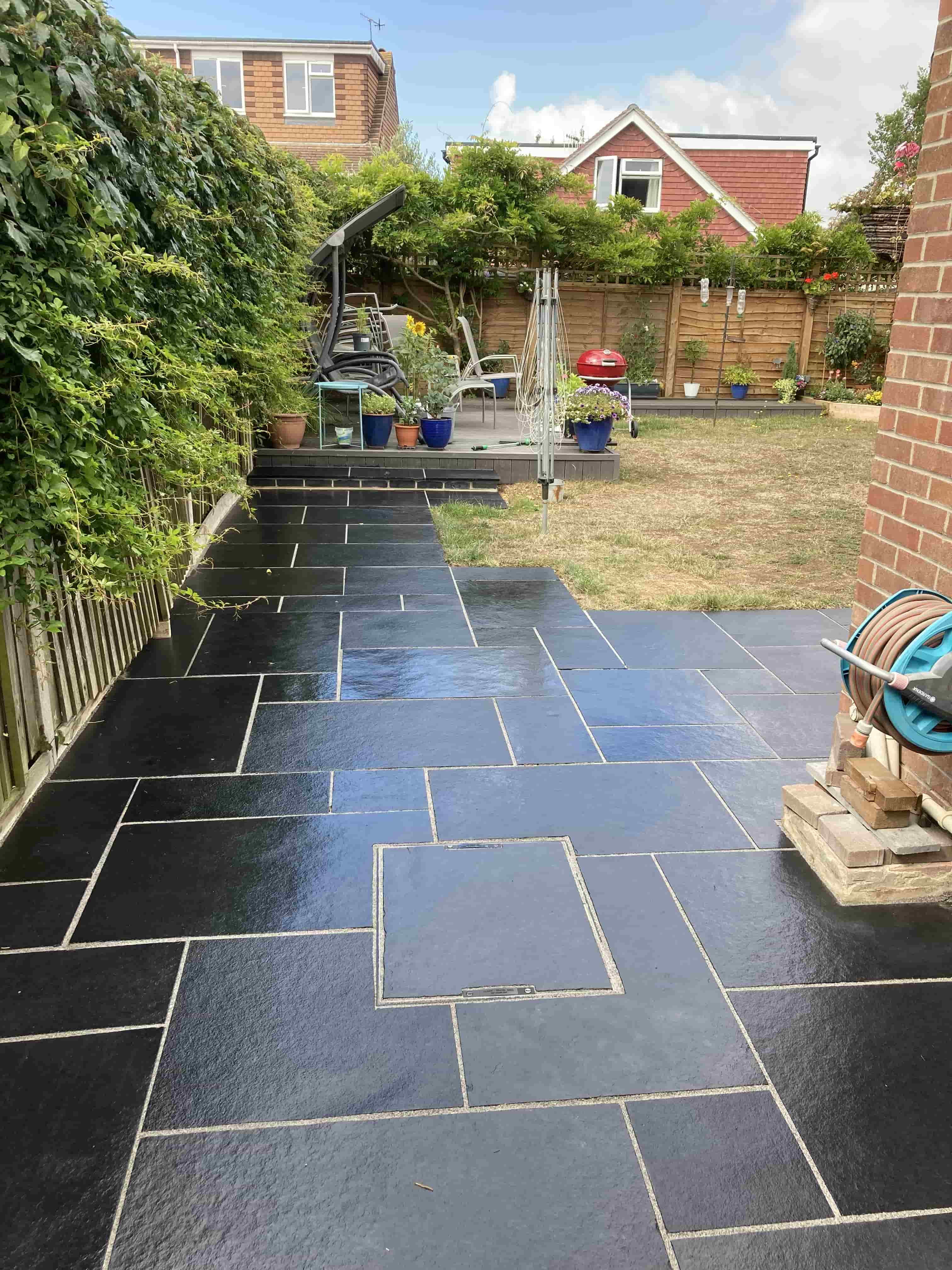 Black Limestone Patio After Cleaning Ashford