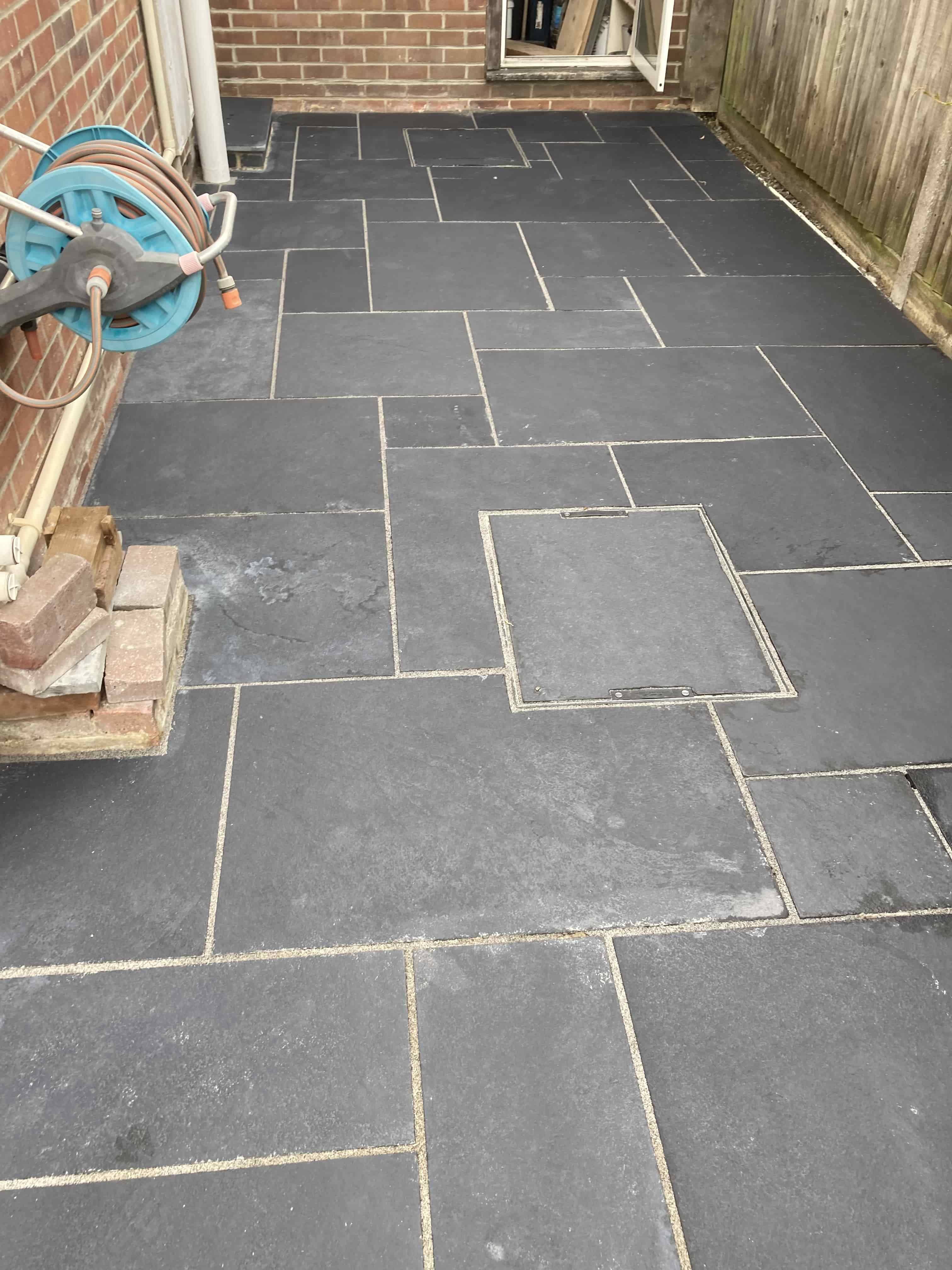 Black Limestone Patio Before Cleaning Ashford