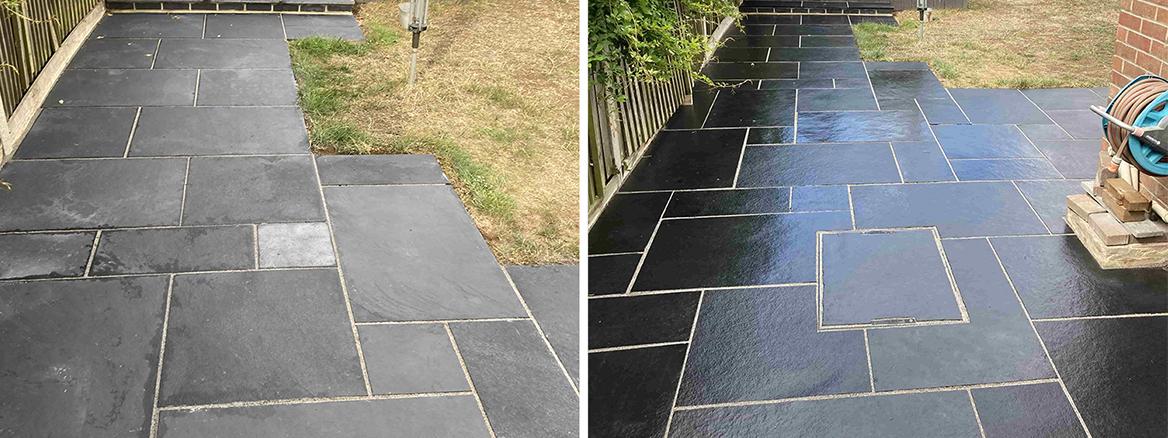 Black Limestone Patio Refinished in Ashford