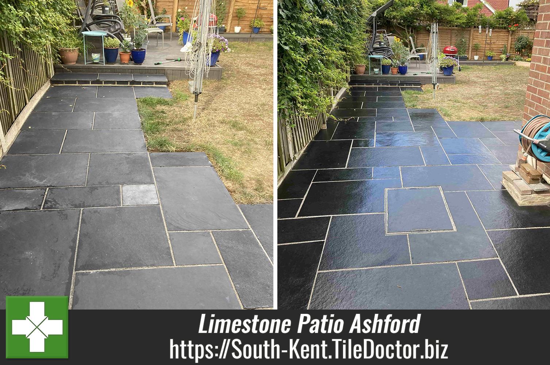 Recently Laid Black Limestone Patio Renovated in Ashford