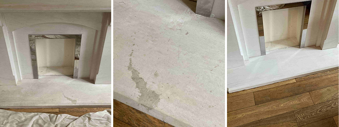 Removing Stains from a Limestone Fireplace in New Romney