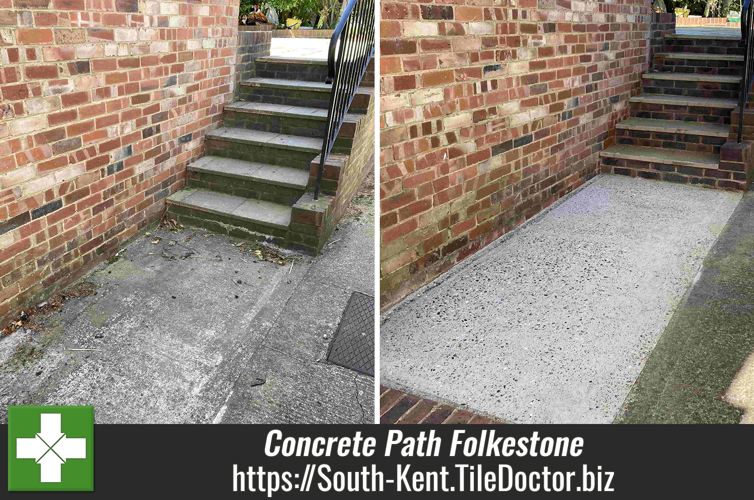 Cleaning Concrete Paving and Steps in Folkestone