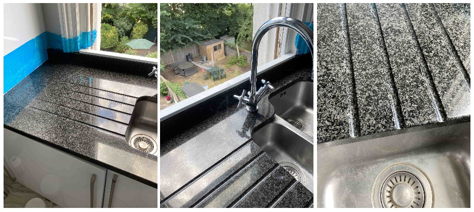 Granite Sink and Counter top After Limescale Removal Folkestone