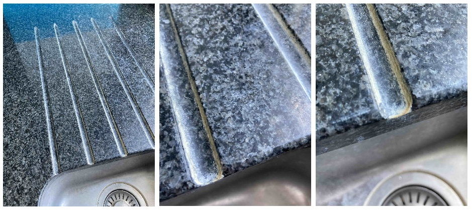 Granite Sink and Counter top Before Limescale Removal Folkestone