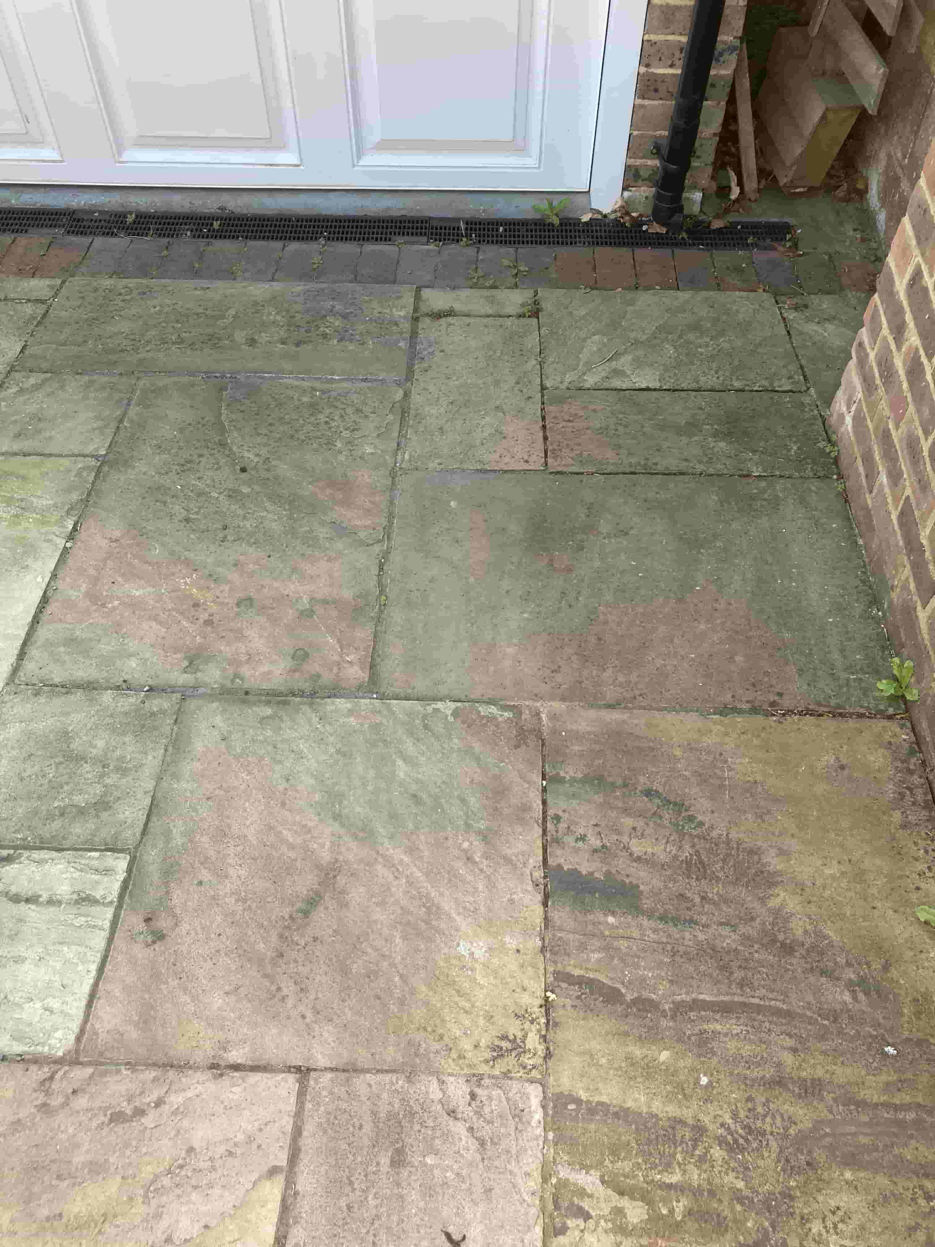 Indian Sandstone Patio Before Cleaning Southborough