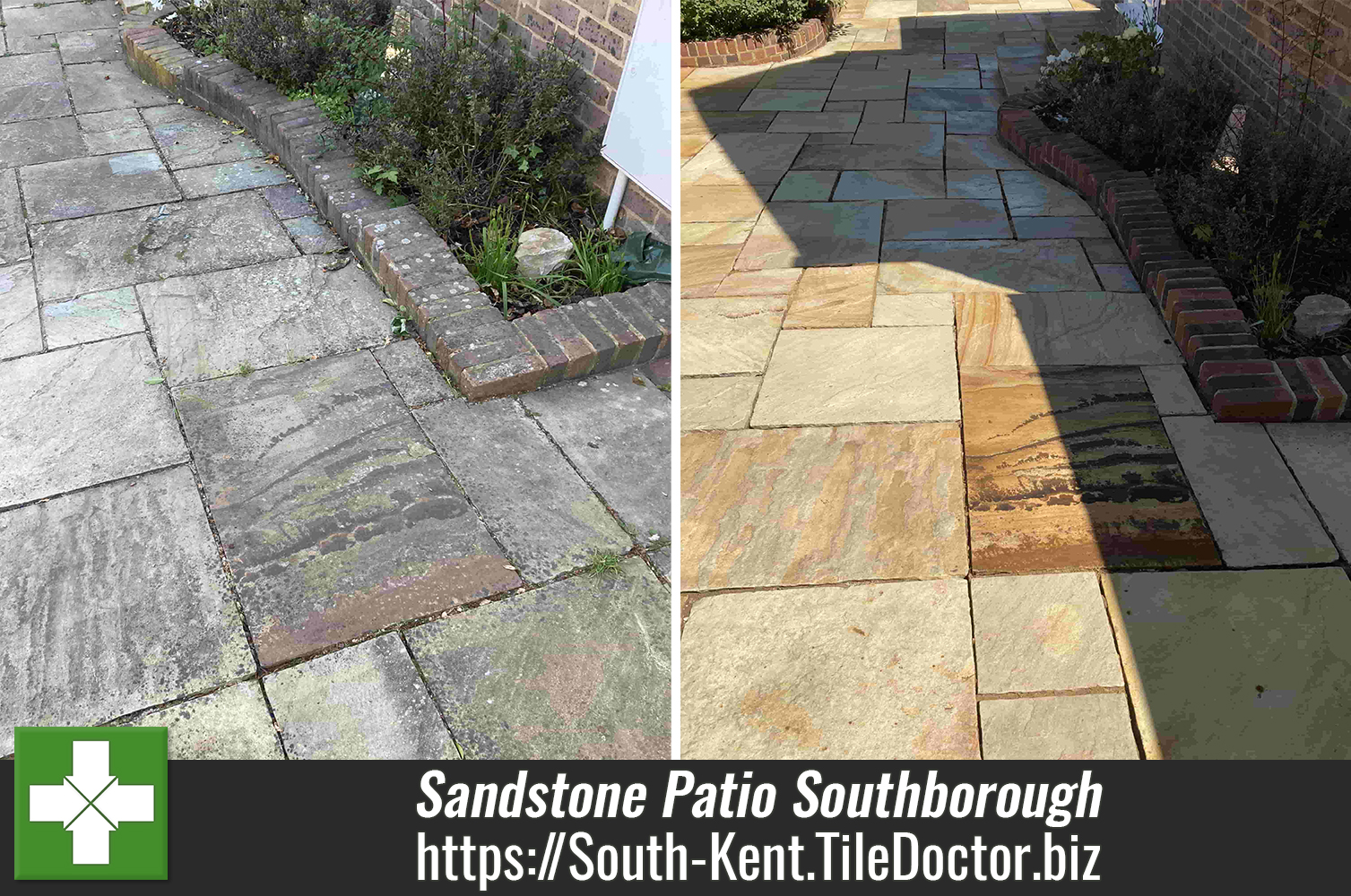 Renovating a Large Indian Sandstone Patio in Southborough