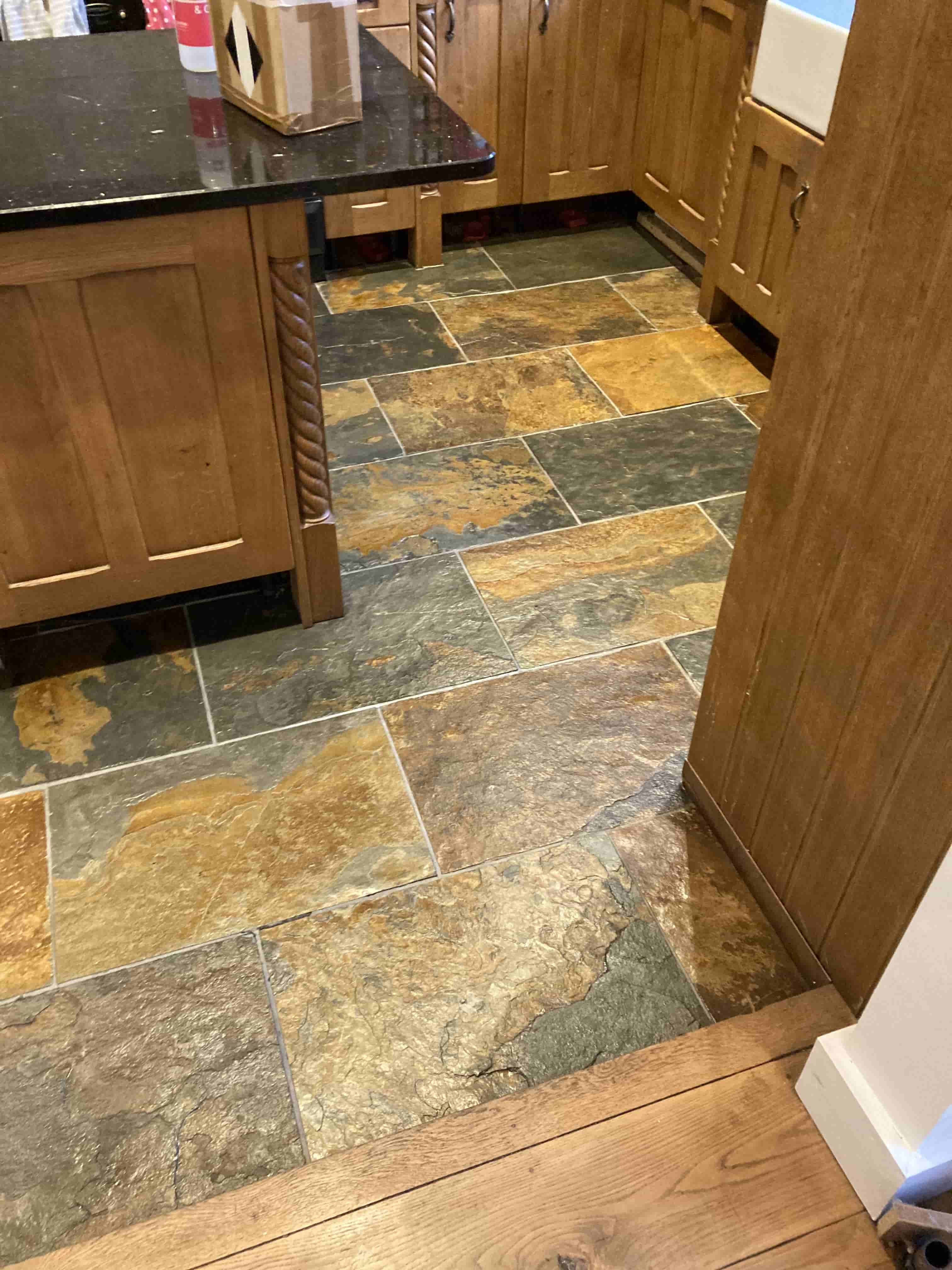 Multicoloured Riven Slate Tiled Kitchen Floor After Cleaning Hythe
