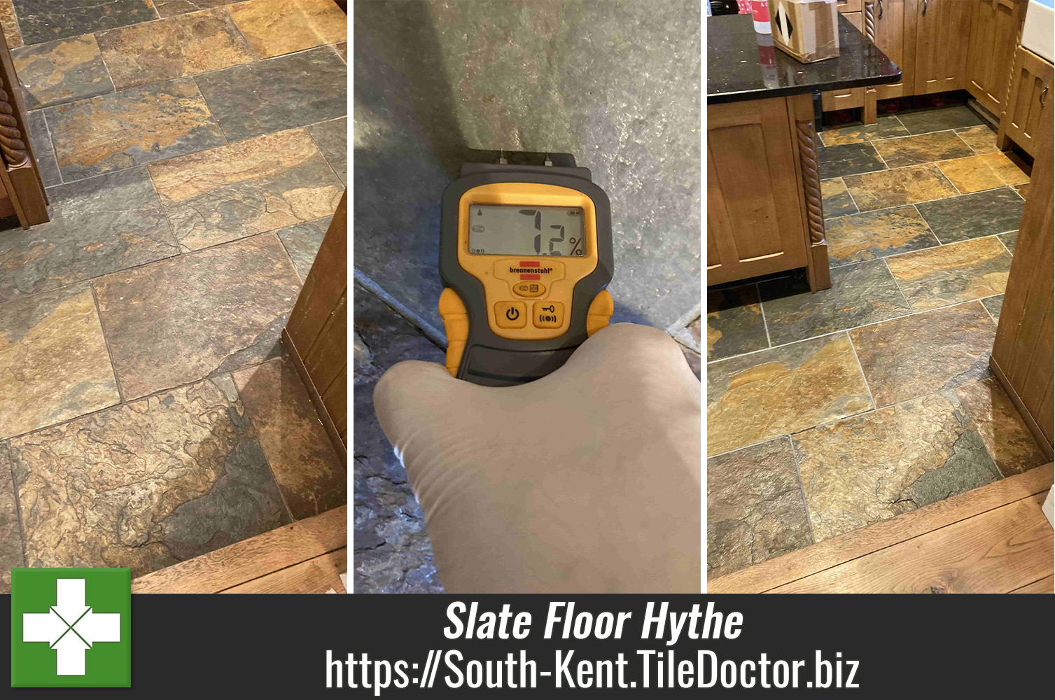 Deep Clean and Seal of a Multi-Coloured Slate Kitchen floor in Hythe