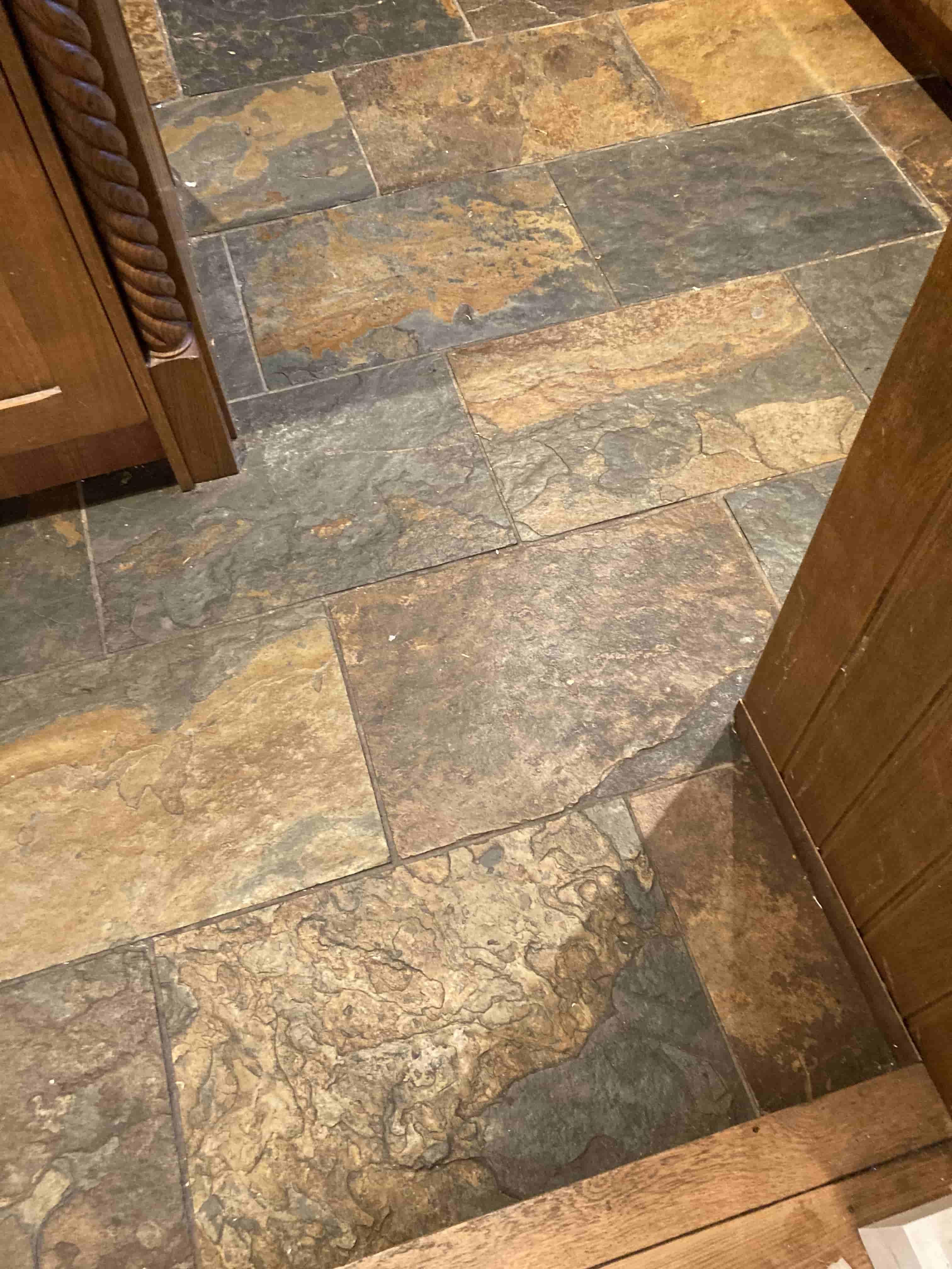 Multicoloured Riven Slate Tiled Kitchen Floor Before Cleaning Hythe