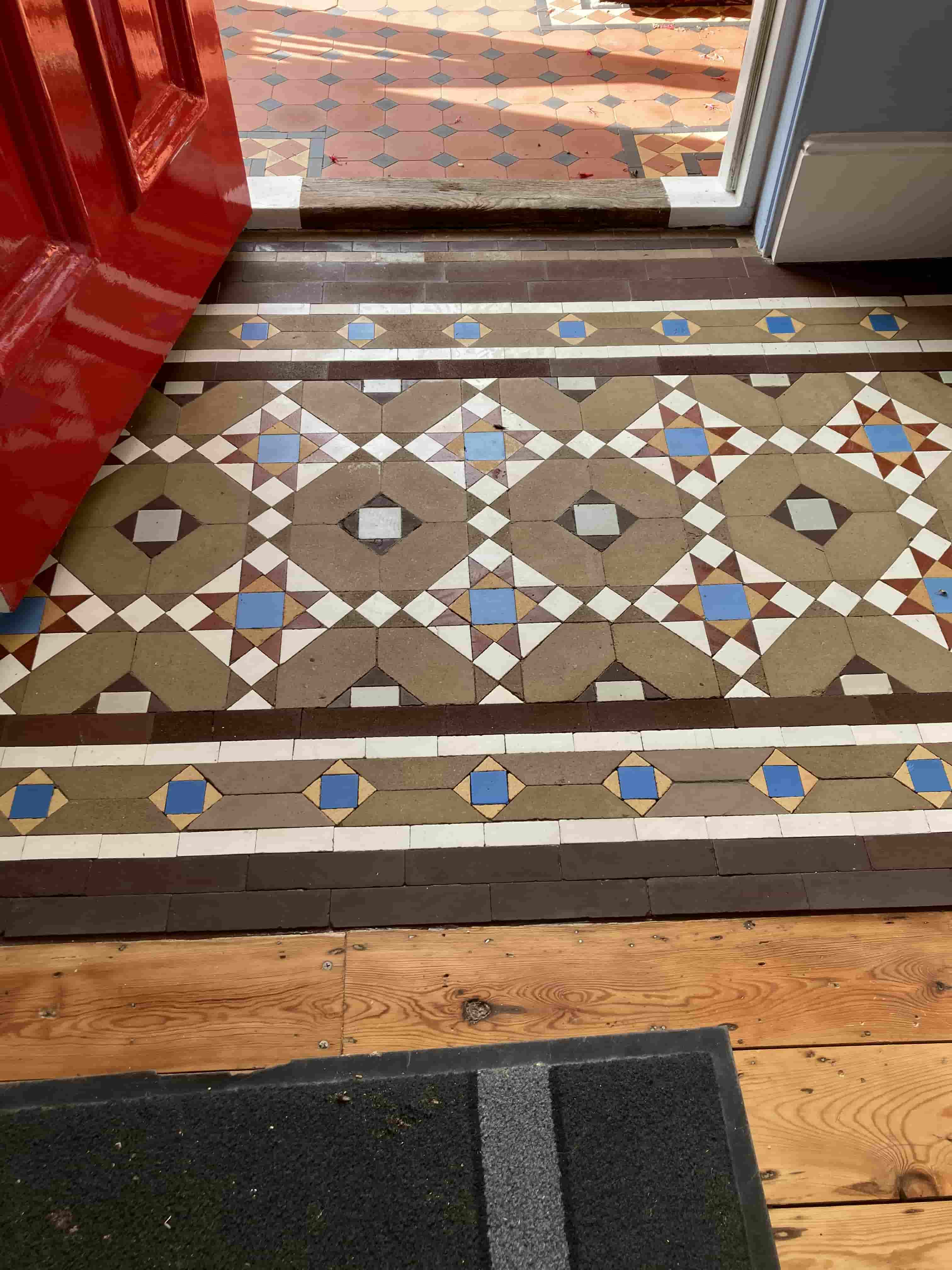 Small Victorian Tiled Vestibule after repair Tonbridge