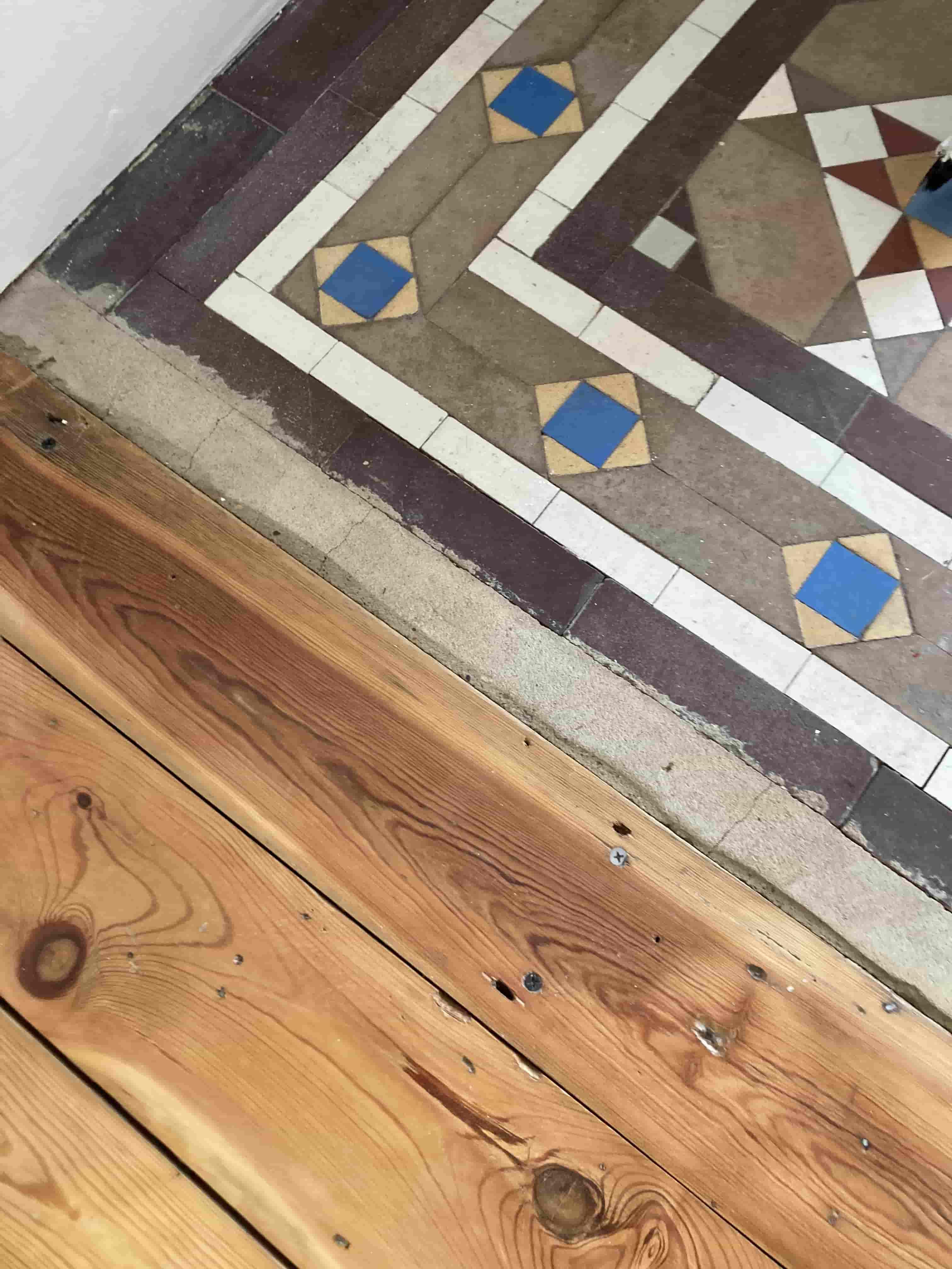 Small Victorian Tiled Vestibule before repair Tonbridge