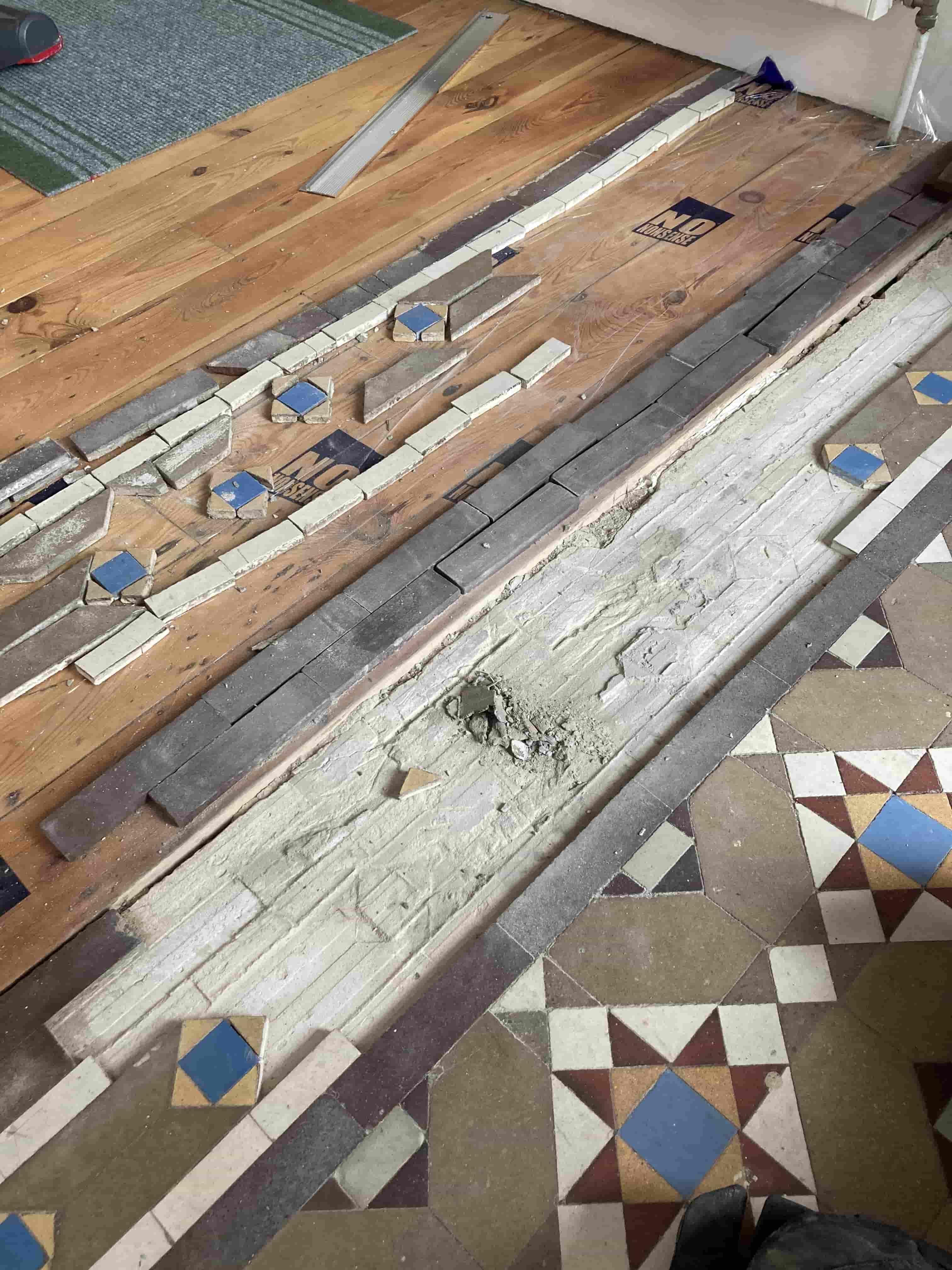 Small Victorian Tiled Vestibule during repair Tonbridge