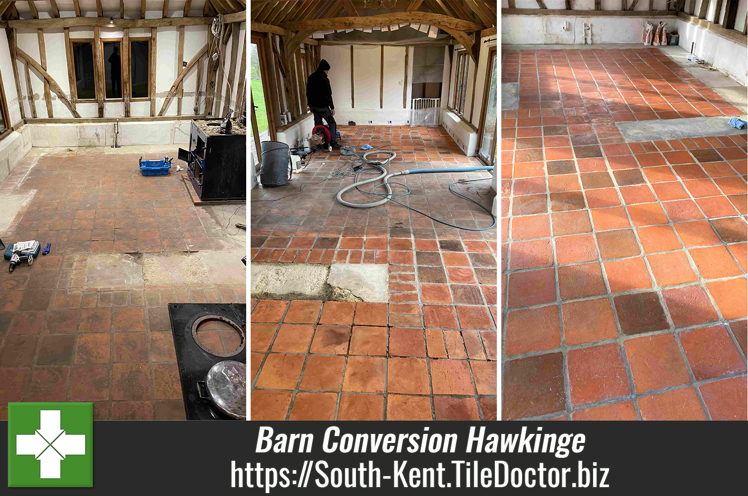 Restoring Quarry and Terracotta Floor Tiles at a Barn Conversion in Hawkinge