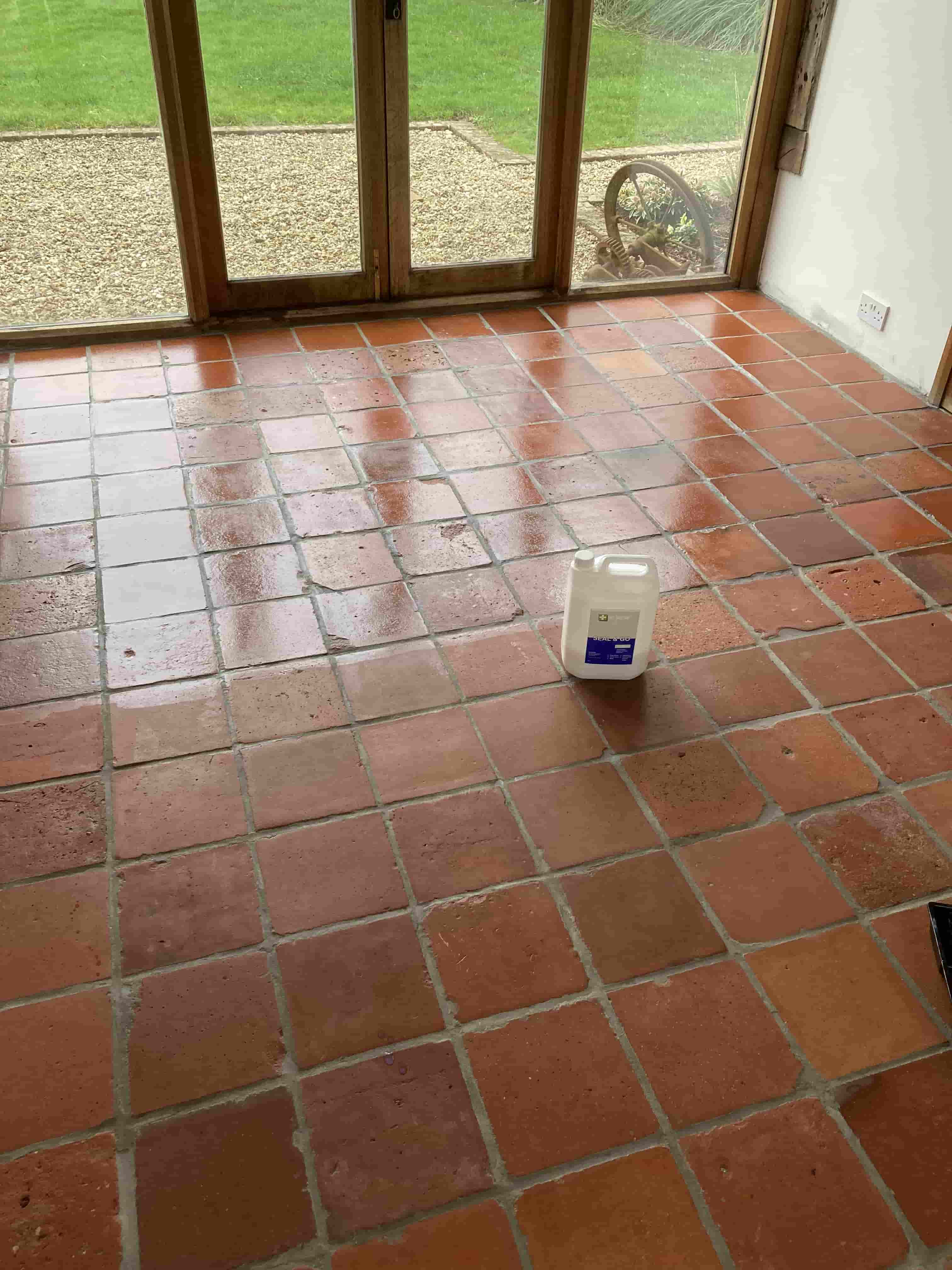 Terracotta and Quarry Tiled Floor After Renovation at Old Barn Conversion Hawkinge