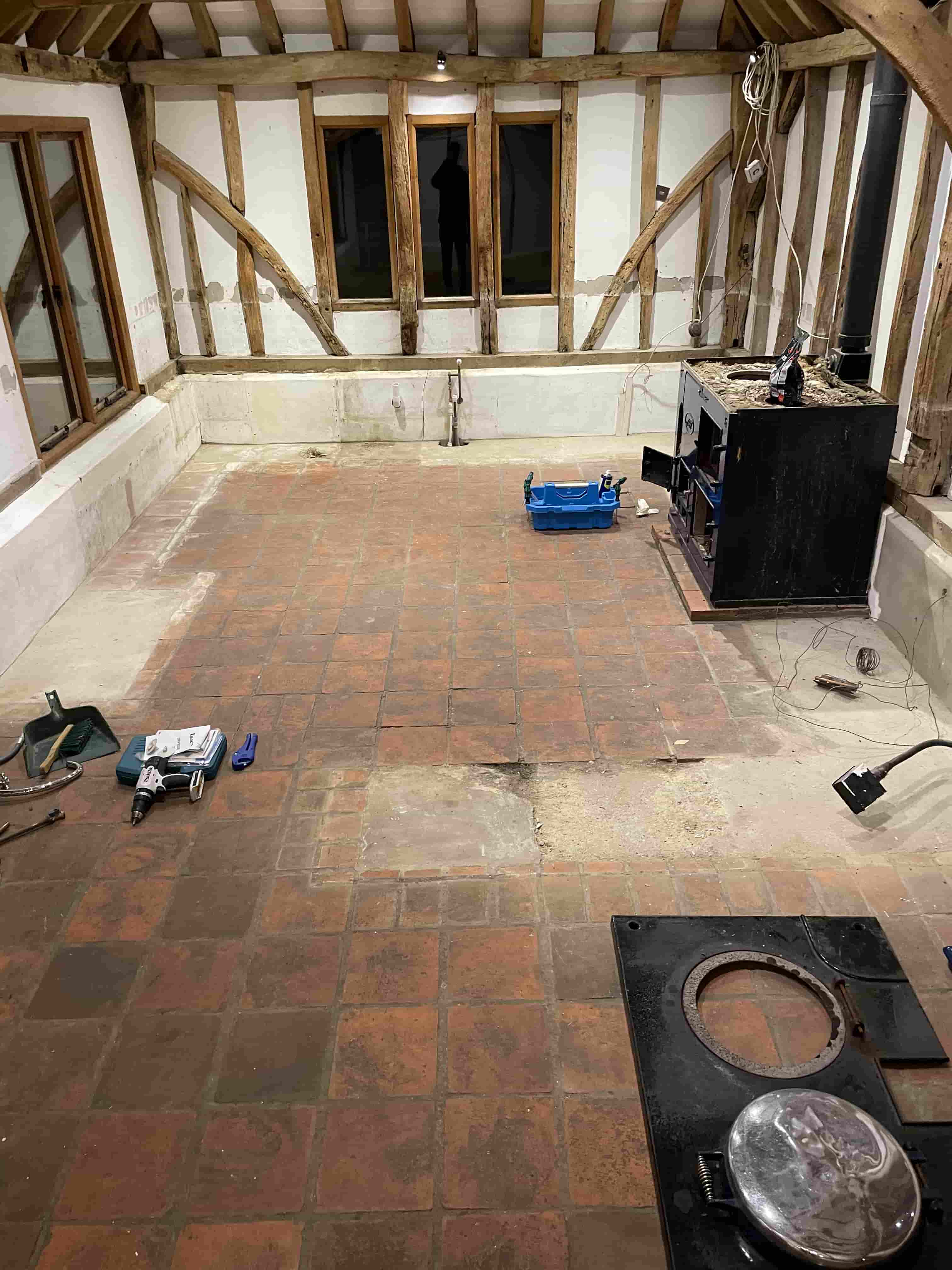 Terracotta and Quarry Tiled Floor Before Renovation at Old Barn Conversion Hawkinge