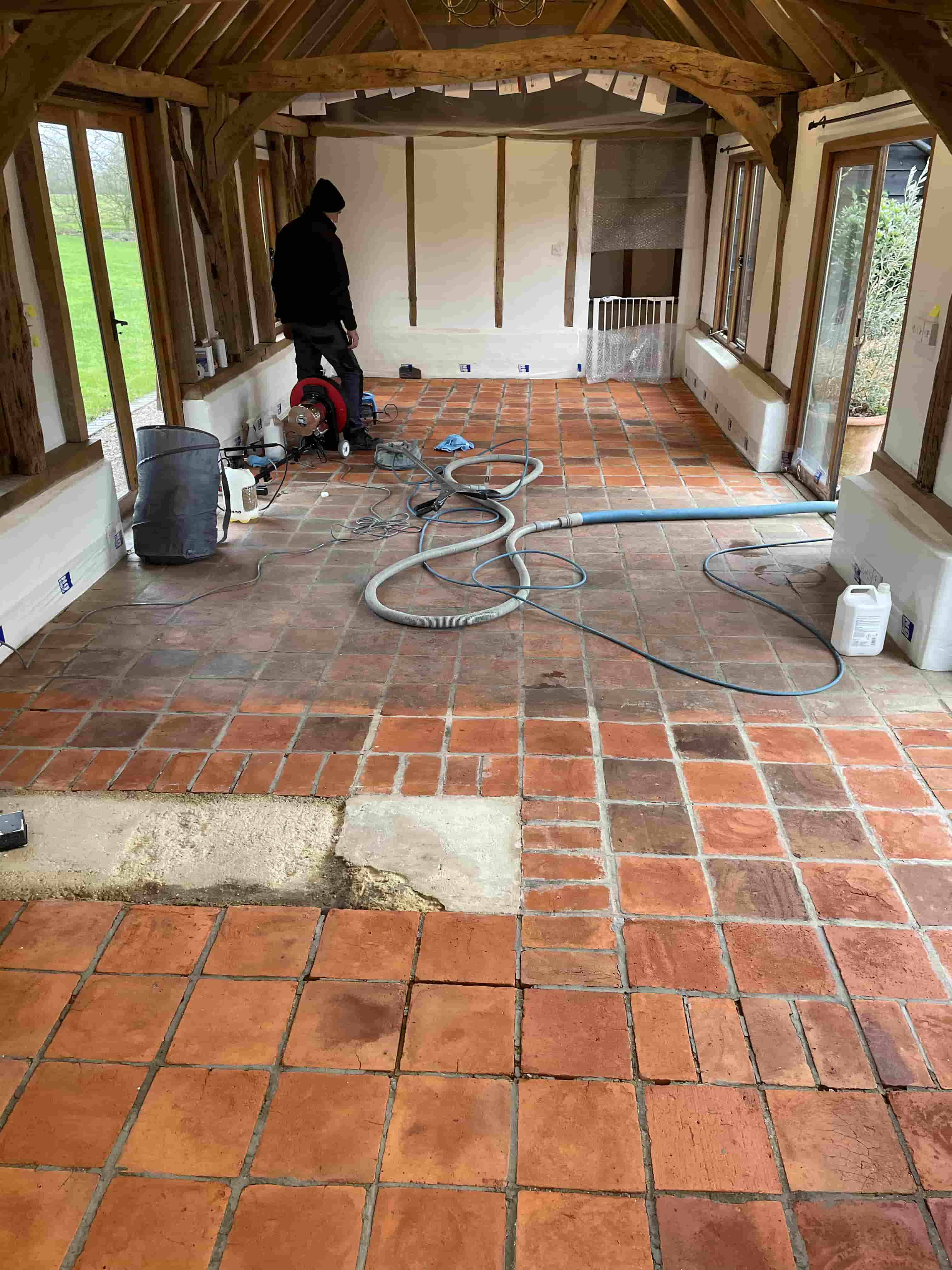Terracotta and Quarry Tiled Floor During Renovation at Old Barn Conversion Hawkinge